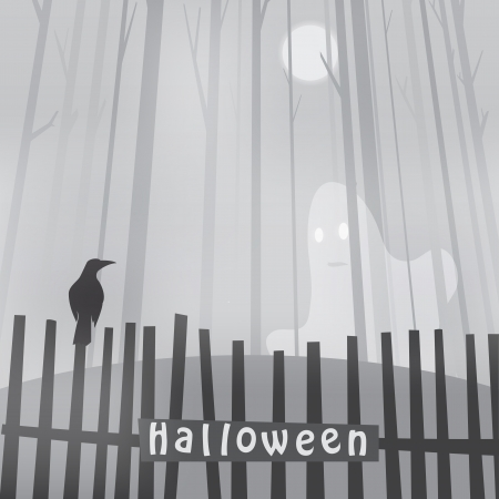 Halloween with ravens on fence and ghost Vector