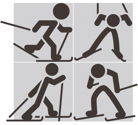 Cross-country skiing icons Vector