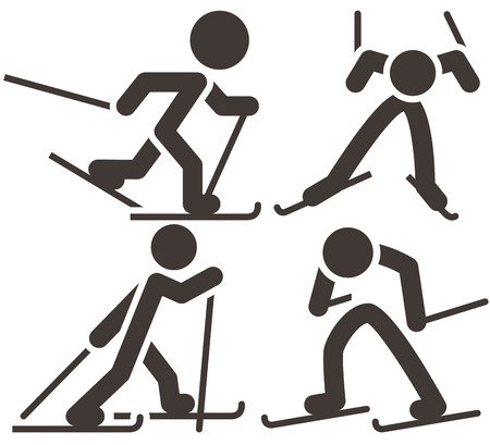 snow ski: Cross-country skiing icons  set Illustration