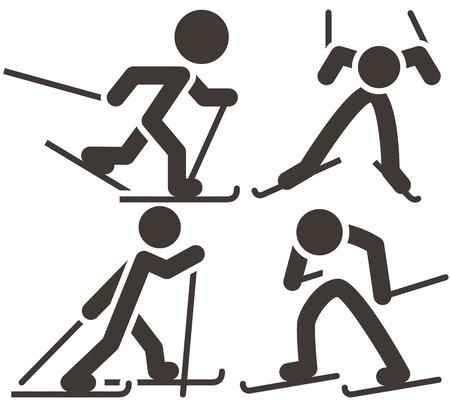 narciarz: Zestaw ikon na nartach biegowych