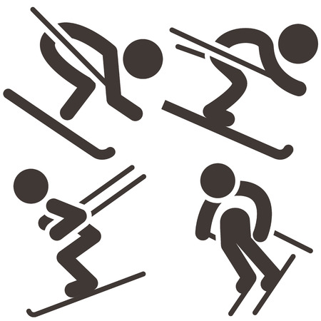 downhill skiing: Downhill skiing icons  set Illustration
