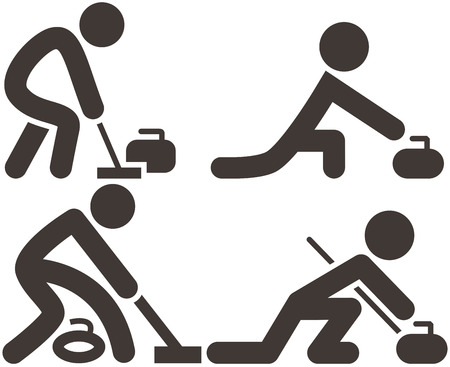 curling: Curling icon set
