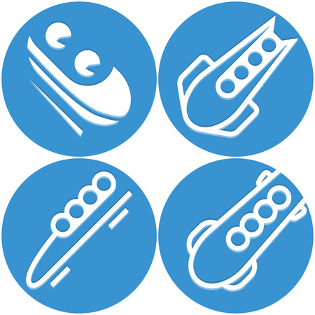 Bobsled icon set Vector