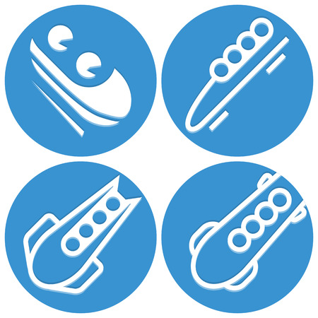 Bobsled icons set Vector