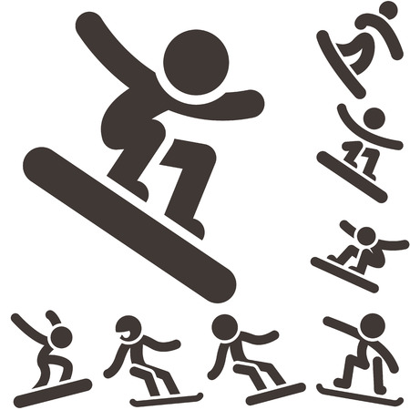 winter sport: Winter sport icons - snowboard