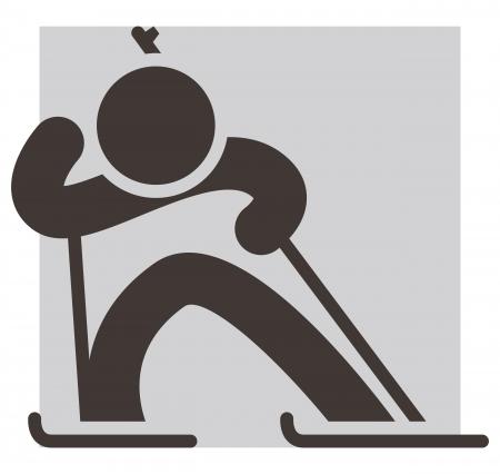 winter sport: Winter sport icon - Biathlon Illustration