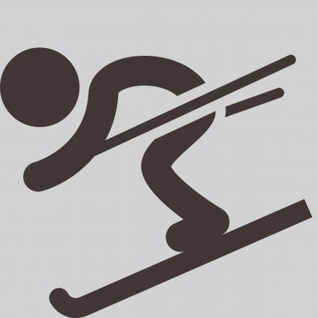 Winter sport icon - Downhill skiing Illustration