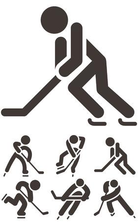 hockey player: Hockey icons set Illustration