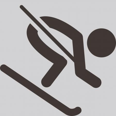 Icône de sports d'hiver - Ski alpin Banque d'images - 24024585