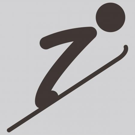 winter sport: Winter sport icon - ski jumping