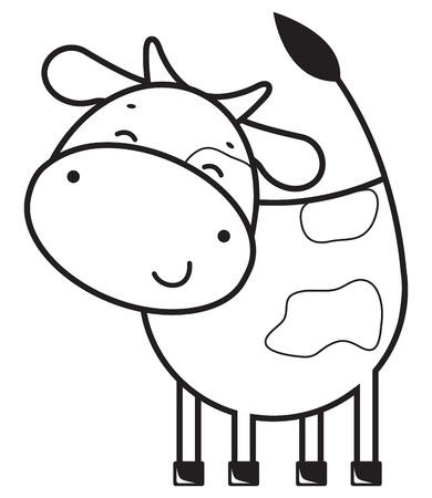 面白い概要牛  イラスト・ベクター素材