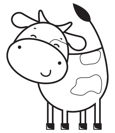 Funny outline cow Stock Vector - 25243991