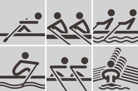 Summer sports icons set -  rowing icons Vector