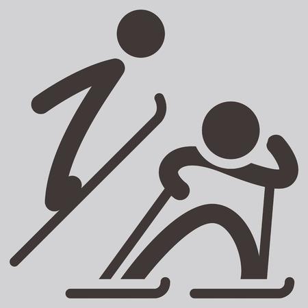 combined: Deporte de invierno icono - n�rdico combinado