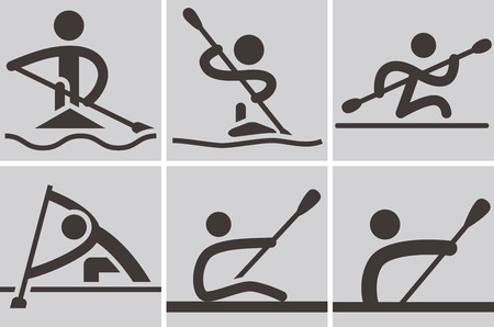 kayak: Summer sports icons - Rowing and Canoeing icons