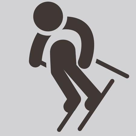 winter sport: Winter sport icon - Downhill skiing Illustration