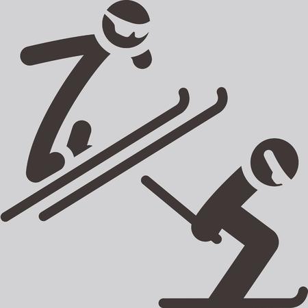 winter sport: Winter sport icon - nordic combined Illustration
