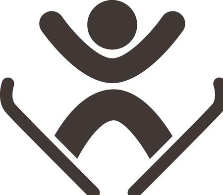Winter sport icon - freestyle ski Vector
