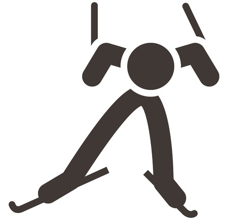 Winter sport icon - Cross-country skiing icon Vector