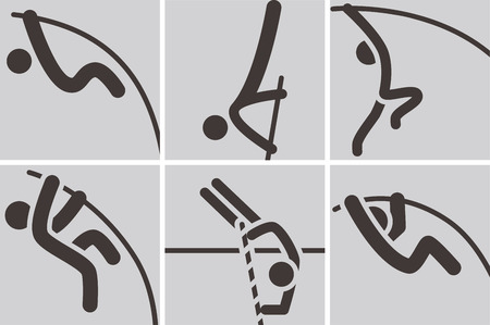 pole vault: Summer sports icons - pole vault icons