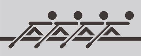 Zomersporten icons set - roeien pictogram Stock Illustratie