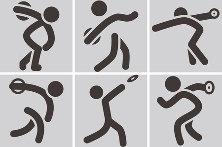 discus: Summer sports icons -  discus throw icons Illustration