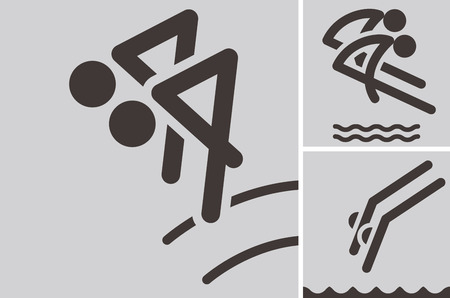 synchronized: Summer sports icons set - synchronized diving icons