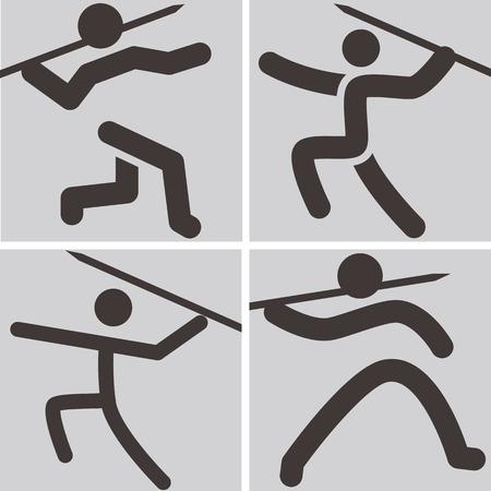 lanzamiento de jabalina: Iconos de los deportes de verano set - Lanzamiento de jabalina iconos