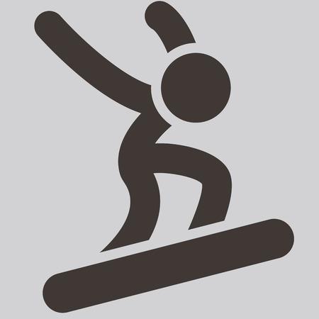 winter sport: Winter sport icon - snowboard