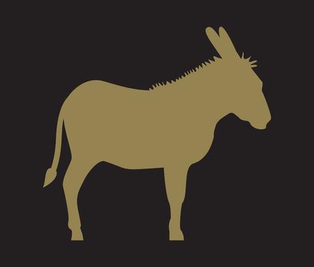 ass donkey: Silhouette of donkey