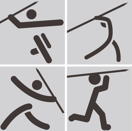 javelin throw: Summer sports icons set -  Javelin throw icons