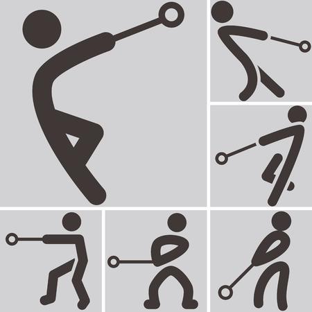 lancer marteau: Sports d'�t� ic�nes - ic�nes lancer du marteau Illustration