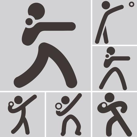 lancio del peso: Icone di sport estivi set - Colpo mettere le icone
