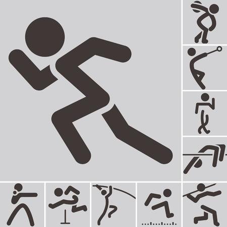 atleta corriendo: Verano se divierte iconos - conjunto de iconos de atletismo Vectores