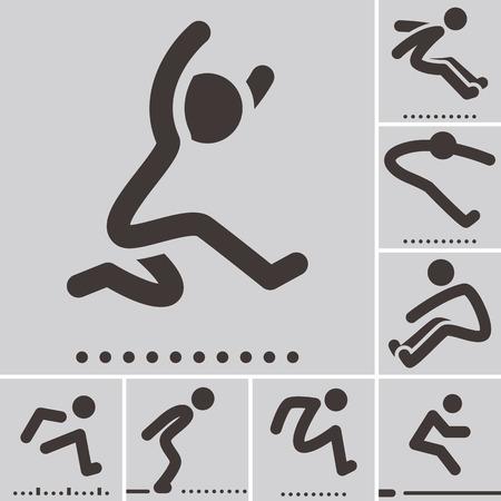salto largo: Iconos de los deportes de verano - iconos de salto de longitud Vectores