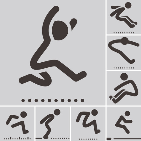 Summer sports icons set - long jump  icons