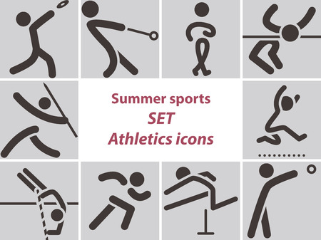 javelin: Summer sports icons -  set of athletics icons