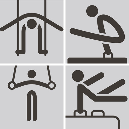 Summer sports icons set - Gymnastics Artistic icons