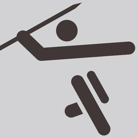 javelin: Summer sports icons set -  Javelin throw icon Illustration