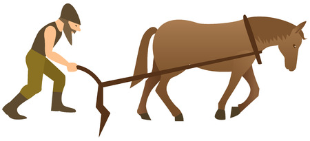 furrow: Plowman and horse with plow