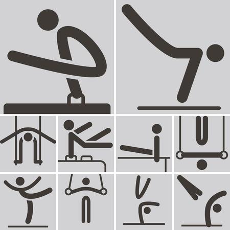 Iconos de los deportes de verano set - Gimnasia Artística iconos Foto de archivo - 28259058