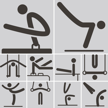 Summer sports icons set - Gymnastics Artistic icons Vector