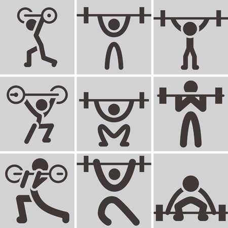 Sports icons set - weightlifting icons Vector