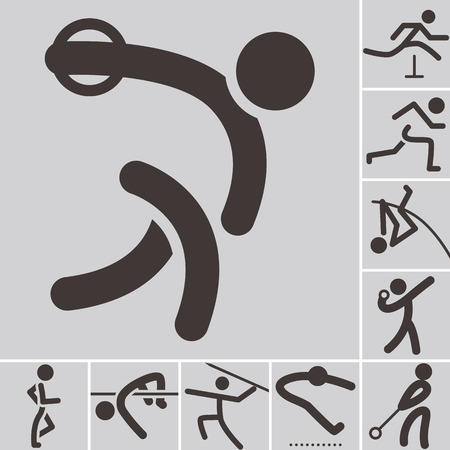 Summer sports icons -  set of athletics icons Vector