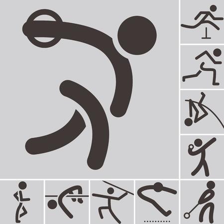 salto largo: Verano se divierte iconos - conjunto de iconos de atletismo Vectores