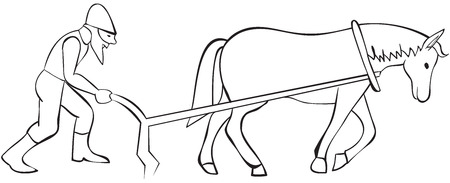 plow: Plowman and horse with plow - outline illustration