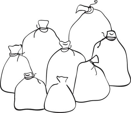burlap bag: Outline group of sacks Illustration