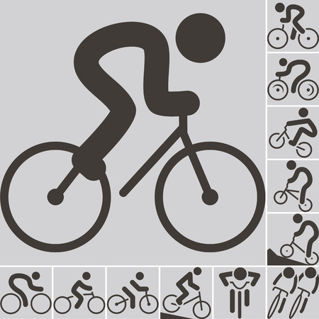 cycling: Summer sports icons -  set of cycling icons Illustration