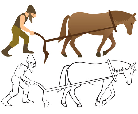 plow: Plowman and horse with plow - color and outline illustration