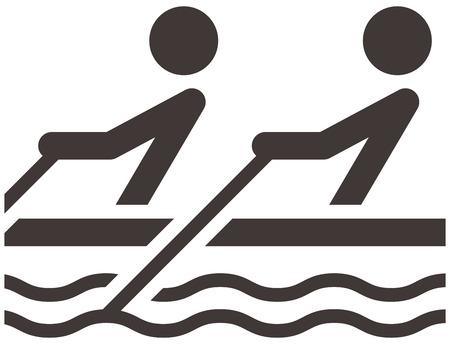 black white kayak: Summer sports icons set - rowing icon
